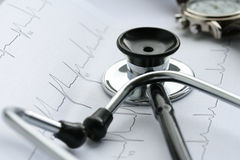 Stethoscope and EKG Royalty Free Stock Photo