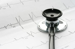 Stethoscope and EKG. Close-up of stethoscope and a waveform from an EKG test as a background royalty free stock images