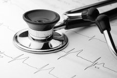 Stethoscope and EKG. Close-up of stethoscope and a waveform from an EKG test as a background stock photography