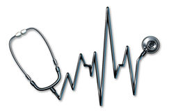 Stethoscope EKG healthcare symbol Royalty Free Stock Photo