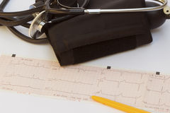 Stethoscope and electrocardiogram Royalty Free Stock Photography