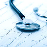 Stethoscope on electrocardiogram Royalty Free Stock Photography