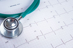 Stethoscope on an electrocardiogram (ECG) chart background Stock Photos
