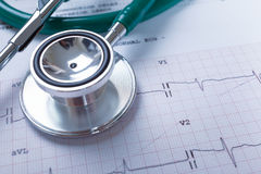 Stethoscope on an electrocardiogram (ECG) chart background stock photography