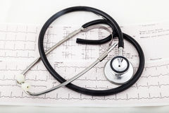 Stethoscope on an electrocardiogram (ECG) chart Royalty Free Stock Photography