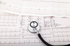 Stethoscope on an electrocardiogram (ECG) chart Royalty Free Stock Images
