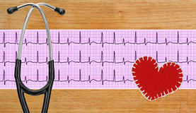 Stethoscope, electrocardiogram graph (ECG) and textile heart ove Royalty Free Stock Photo