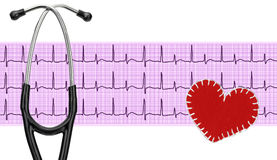 Stethoscope, electrocardiogram graph (ECG) and textile heart Stock Images