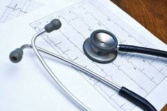 Stethoscope and electrocardiogram heart test. On a wooden table Royalty Free Stock Photo
