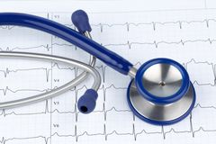 Stethoscope and electrocardiogram Stock Images