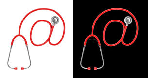 Stethoscope email concept. 3D illustration of stethoscope tubing forming email symbol Royalty Free Stock Photo