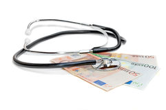 Stethoscope on the euro banknotes Royalty Free Stock Photos