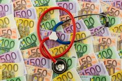 Stethoscope and euro banknotes Stock Photography