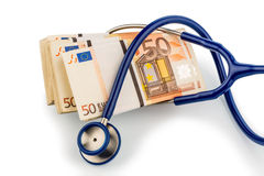 Stethoscope and euro banknotes, Stock Photos