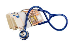 Stethoscope and euro banknotes Royalty Free Stock Images