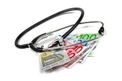Stethoscope and euro money banknotes Royalty Free Stock Photography