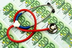 Stethoscope and euro notes Stock Photo