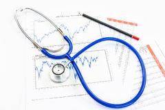 Stethoscope with financial graph Royalty Free Stock Image