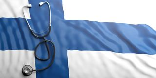 Stethoscope on Finland flag, 3d illustration. Stethoscope on Finland flag background, 3d illustration Royalty Free Stock Image