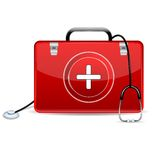 Stethoscope with First Aid Box. Illustration of stethoscope with first aid box Stock Photos