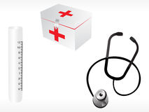 Stethoscope and first aid box on white background Royalty Free Stock Images