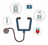 First aid design. Stethoscope with first aid elements around over white background colorful design vector illustration Royalty Free Stock Images