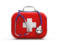 Stethoscope and First Aid Kit. On white background Royalty Free Stock Images