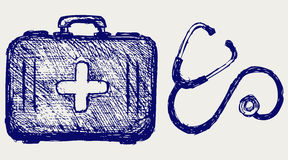 Stethoscope with first aid kit. Doodle style. Vector Royalty Free Stock Images