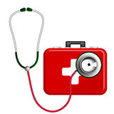Stethoscope and First Aid Kit Stock Photography