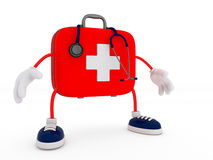 Stethoscope and First Aid Kit Character. Isolated - 3D Render Stock Photo