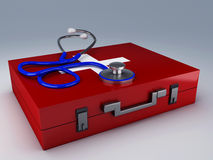 Stethoscope and first aid kit. 3d illustration Stock Photography