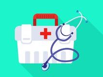 Stethoscope first aid kit icon, flat style royalty free illustration