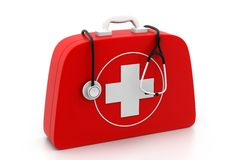 Stethoscope and First Aid Kit. On isolated background Royalty Free Stock Photography