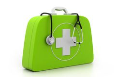 Stethoscope and First Aid Kit. On isolated background Royalty Free Stock Photo
