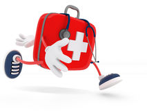 Stethoscope and First Aid Kit. Isolated - 3D Render Royalty Free Stock Photos
