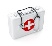 Stethoscope and first aid kit isolated on white background. 3d rendering of stethoscope and first aid kit isolated on white background Stock Photo