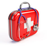 Stethoscope and First Aid Kit. On white Royalty Free Stock Photography