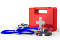 Stethoscope and first aid on white background. Isolated 3D image Royalty Free Stock Photo