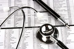 Stethoscope And Fountain Pen stock photography