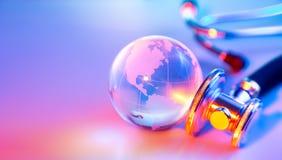 Stethoscope on glass globe - Usa stock photo