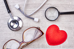 Stethoscope and glasses. Royalty Free Stock Image