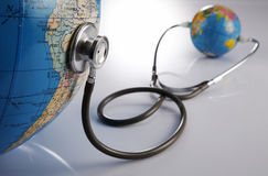 Stethoscope and globe Stock Image