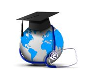 Stethoscope with globe and graduation hat Royalty Free Stock Image