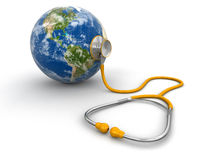 Stethoscope and globe Royalty Free Stock Images