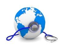 Stethoscope and globe on white background Royalty Free Stock Image