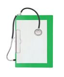 Stethoscope and green clipboard Stock Image