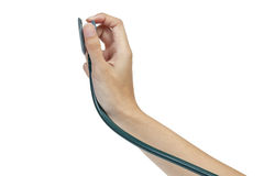 Stethoscope and hand Royalty Free Stock Photo