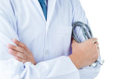 Stethoscope in the hands. Doctor with a stethoscope in the hands on whotw back ground Royalty Free Stock Photography