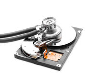 Stethoscope on the hard disk drive Royalty Free Stock Photo