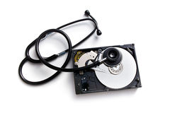 Stethoscope and hard disk Stock Images
